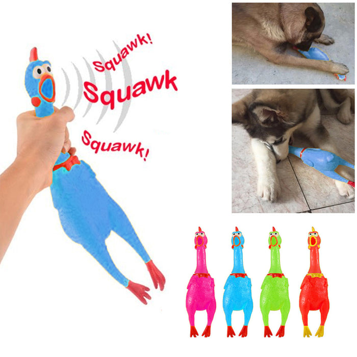 "1 X 16"" Rubber Chicken Squeeze Squeak Pet Dog Puppy Shrill Chew Noisy Toy Colors"