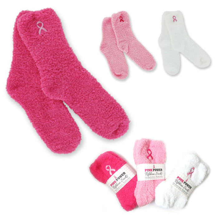 1 Pair Breast Cancer Awareness Plush Socks Women Soft One Size Warm Pink Support