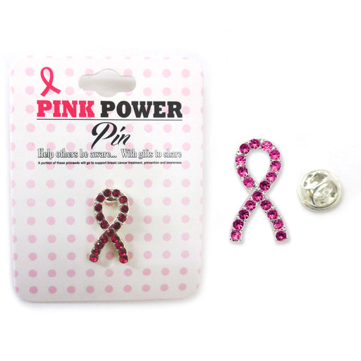 1 Pc Lapel Pin Breast Cancer Awareness Pink Crystal Ribbon Stone Show Support