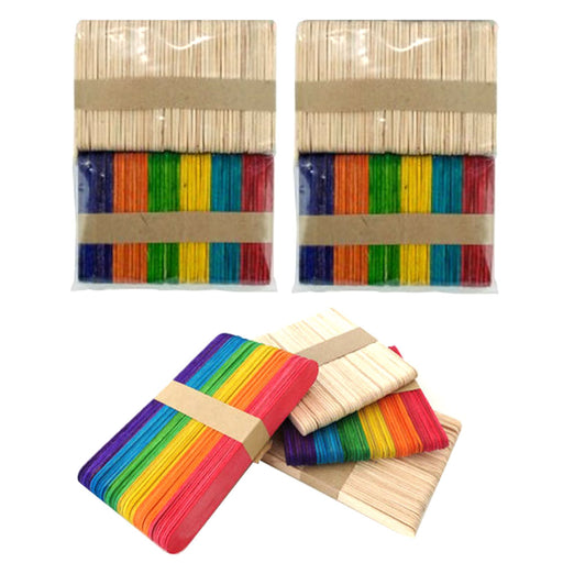 "200 Pc Mini Multi Color Natural Wooden 2 1/2"" Craft Popsicle School Arts Sticks"