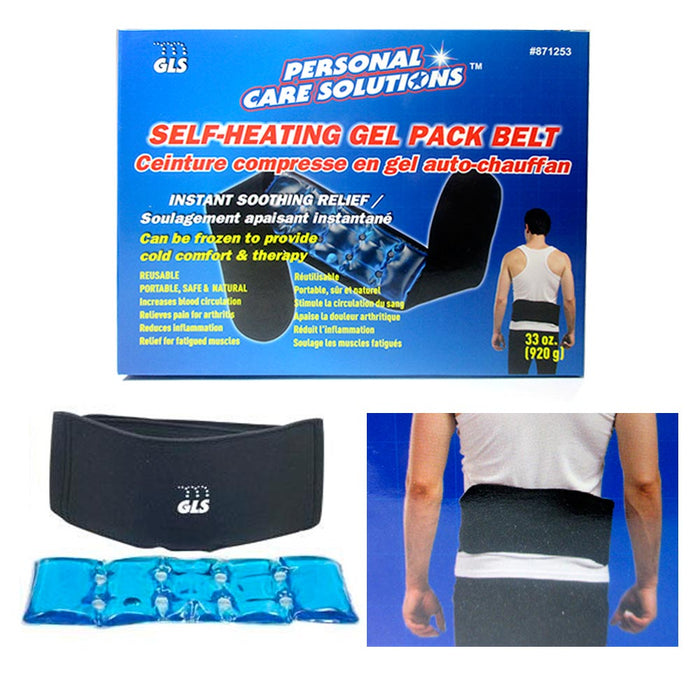 1 Self Heating Gel Pack Belt Back Support Pain Relief Hot Cold Muscle Therapy