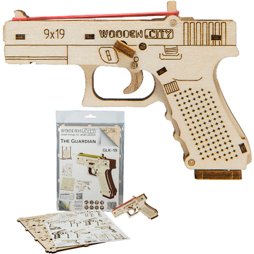 Wooden Wood Trick Rubber Band Gun Pistol Mechanical 3D Model Puzzle DIY