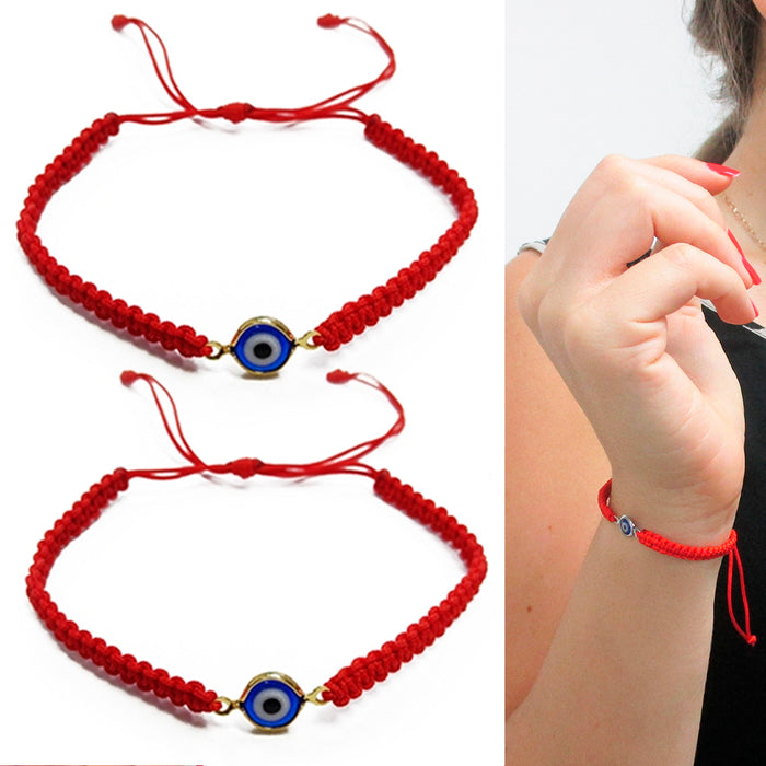 2 Evil Eye Blue Hamsa Nazar Red Macrame Hand Of God Kabbalah Bracelet Lucky Gift