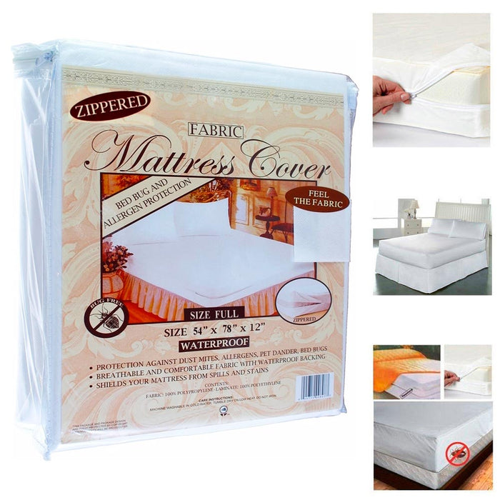 12 Full Size Fabric Zippered Mattress Cover Waterproof Bug Dust Mite Protector