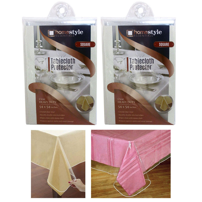 2 Pc Window Clear Tablecloth Protector Heavy Duty Vinyl Easy Table Cover 54x54