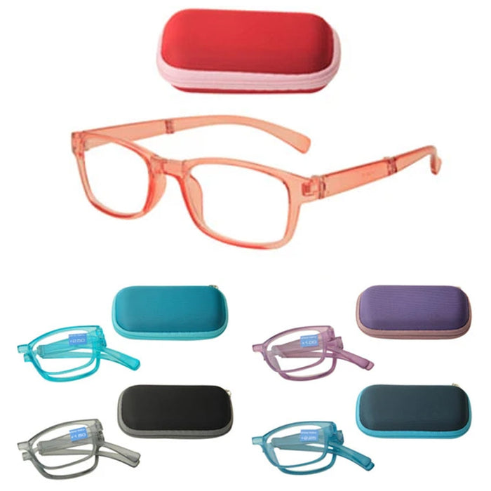 1 Pair Foldable Reading Glasses Case Holder Readers Folding Eyeglass Pouch +3.00
