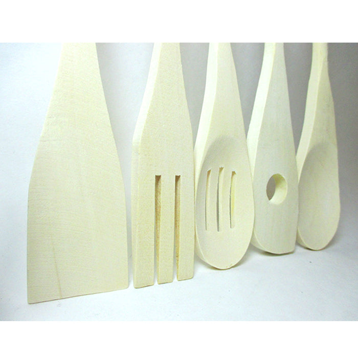 5 Pc Set Wooden Kitchen Tools Cooking Utensil Spatula Spoon Fork Chef Serving