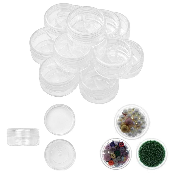 12PC Round Clear Jars Gemstone Storage Plastic Container with Lid Jewelry Makeup