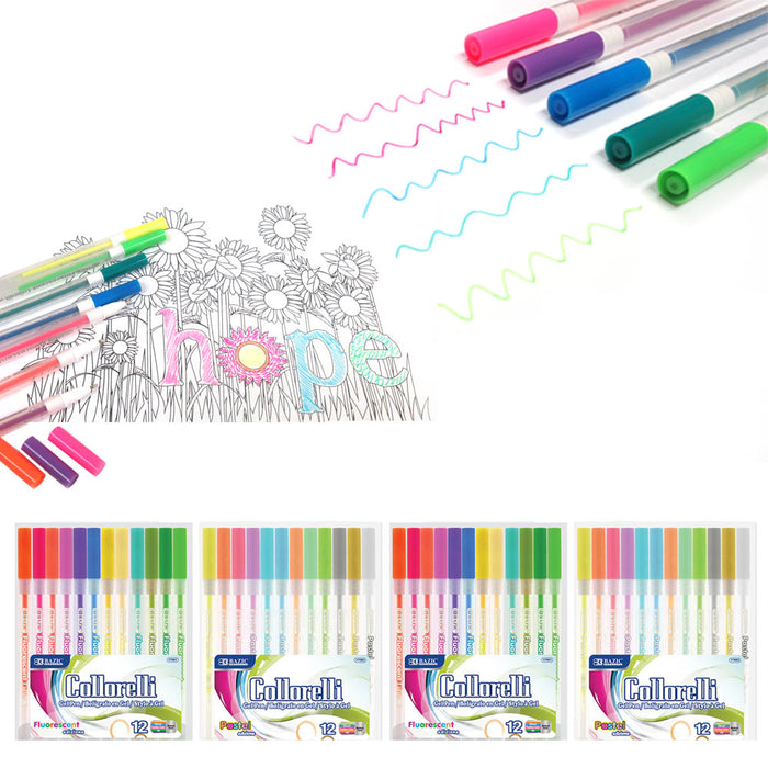 48 Pc Gel Pens Set Neon Pastel Colors Kids Adult Coloring Book Art Craft Drawing