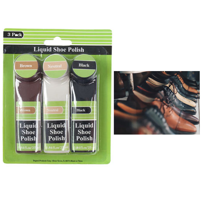 3 Pc Set Shoe Polish Liquid Shine Care Kit Black Brown Neutral Boots Shoes Care