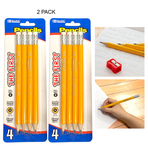 8 PC Premium Jumbo Yellow Pencils The First Wooden School Supplies Arts Crafts