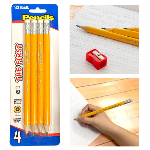 4 Pc First Jumbo Yellow Pencil Premium Wooden School Supplies Arts Crafts Bazic