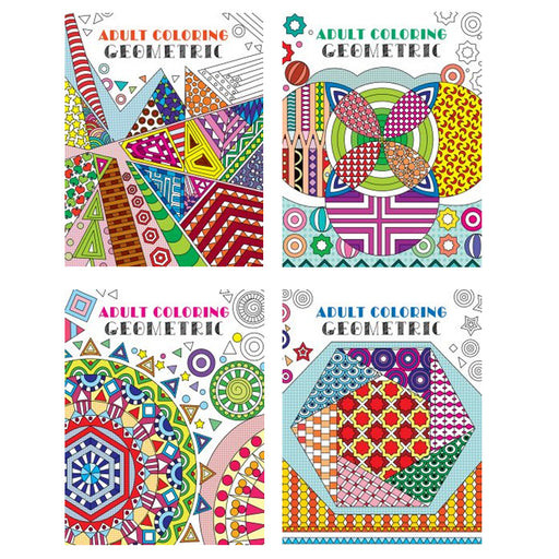 4 Adult Coloring Book Geometrical Stress Relief Relaxation Meditation Therapy !