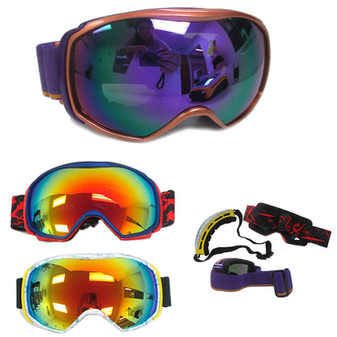 1 Adult Snowboard Ski Goggles Anti Fog Double Color Lens Eye Protection Glasses