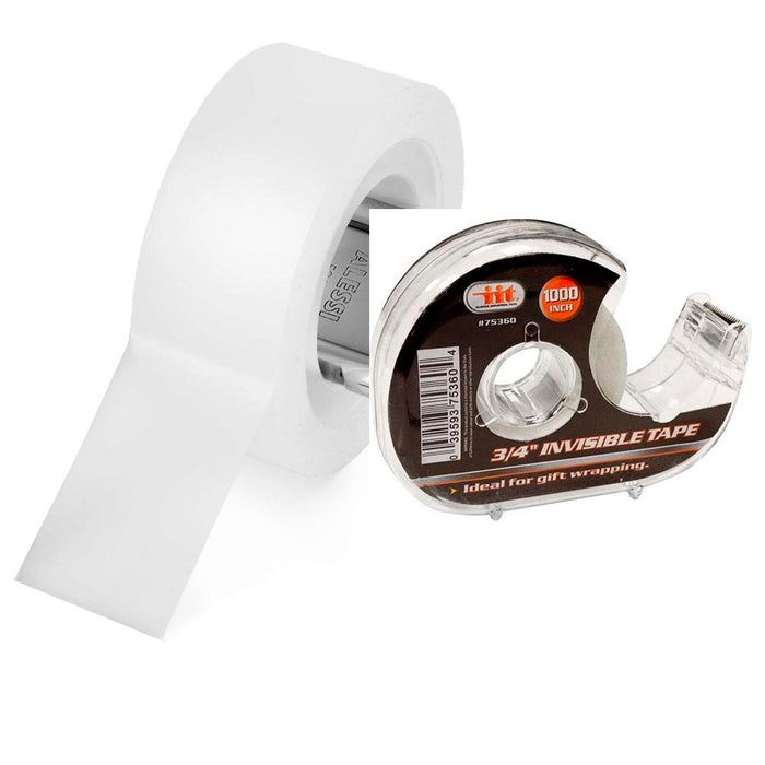 "2 x Tape Rolls W/ Dispenser Cutter White Frosty Desktop Office Craft 3/4""x1000"""