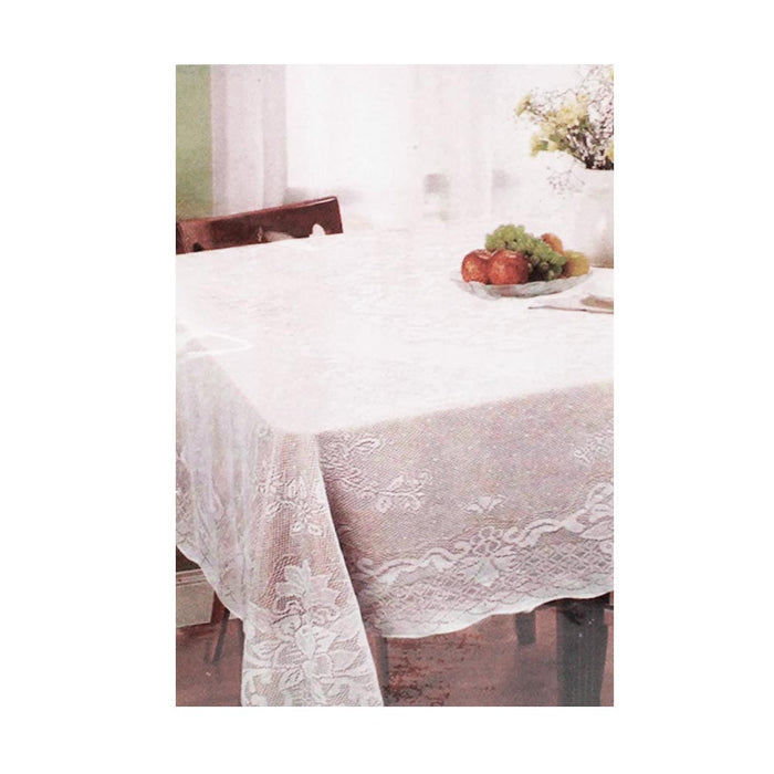 "White Lace Solid Tablecloth 60"" X 90"" 100% Polyester Cloth Rectangle Cover Home"