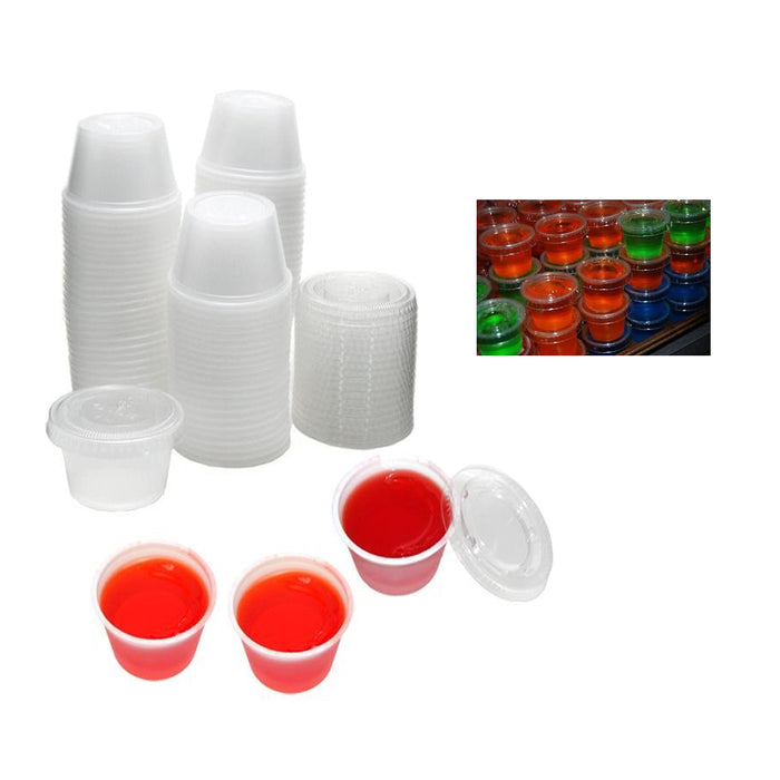 32 X Jello Shot Glasses Lids 2.5 Oz Souffle Portion Cups Clear Plastic Bulk