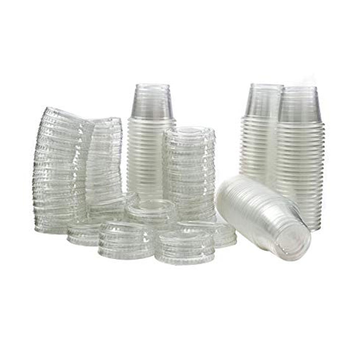 2.5 oz Clear Plastic Souffle Portion Cups Jello Jelly Shot Glasses w/Lid 64 Sets