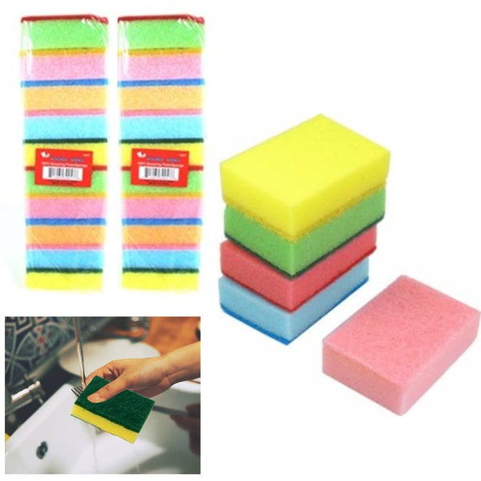 20 Sponge Scouring Pads Kitchen Dishes Cleaner Scour Scrub Cleanning Wholesale !