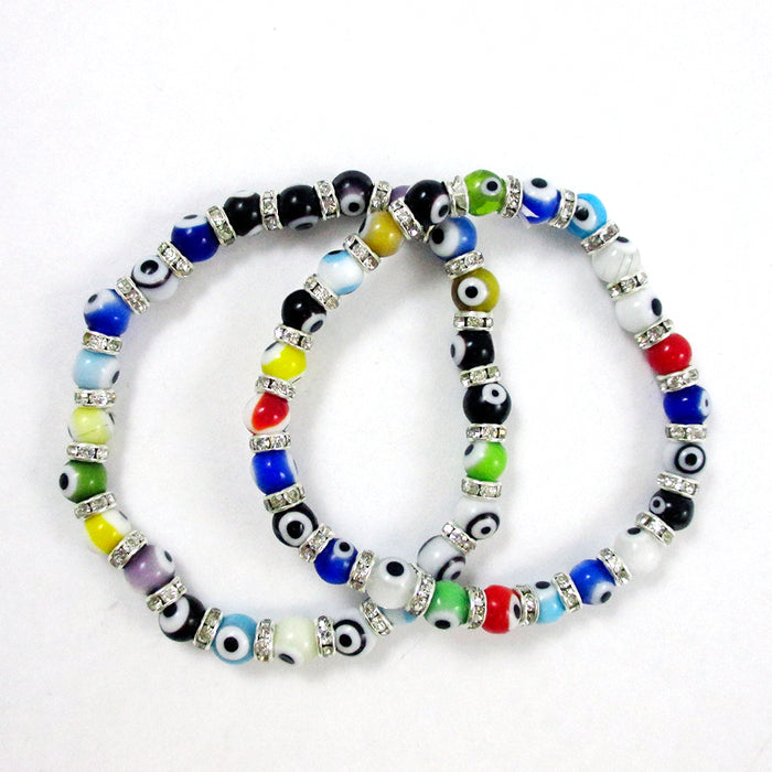 2 Pc Evil Eye Bracelet Glass Beads Hamsa Judaica Stretch Jewelry Nazar Kabbalah