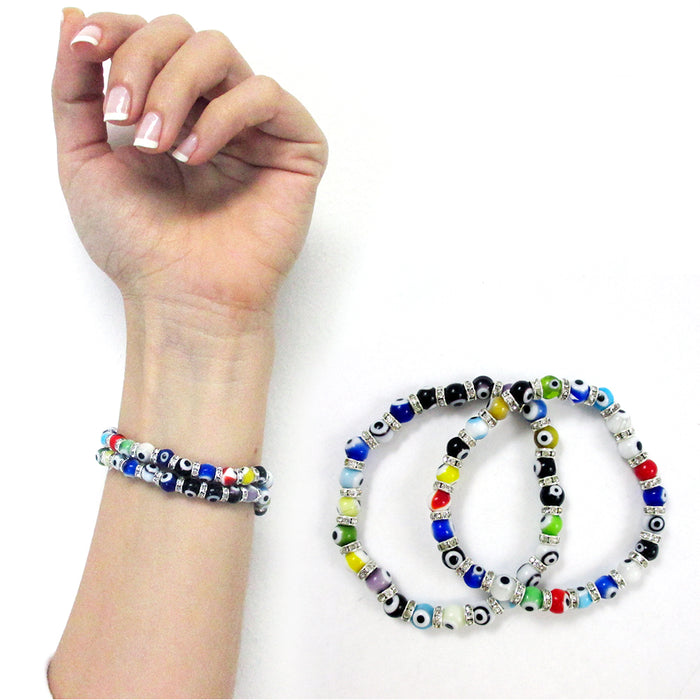 5 Pc Evil Eye Glass Beads Bracelet Colors Hamsa Lampwork 6mm Good Lucky Kabbalah