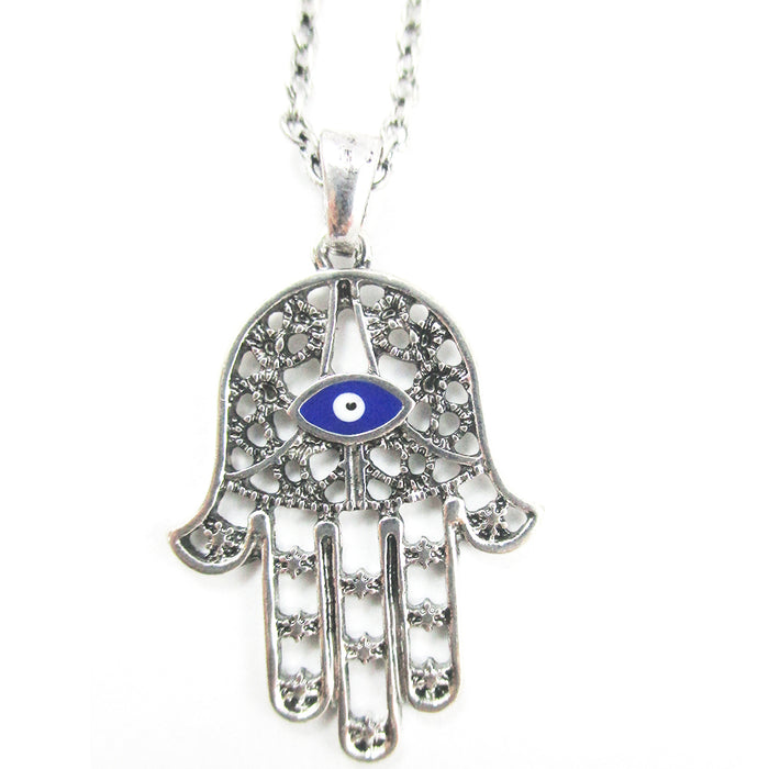 2 Pc Hamsa Hand Necklace Lucky Evil Eye Pendant Chain Necklace Kabbalah Fatima