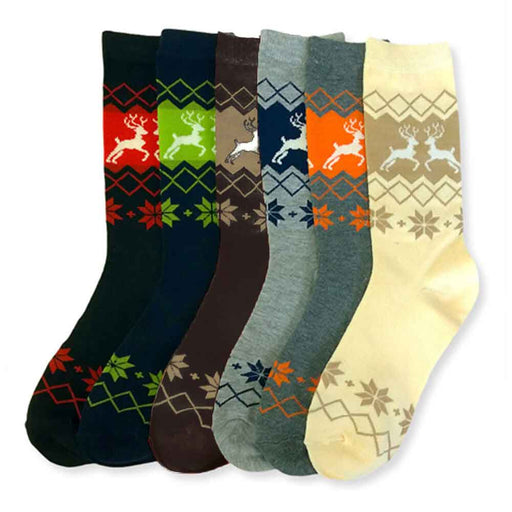 12 Pairs Holiday Fashion Crew Socks Winter Deer Pattern Casual Size 9-11 Unisex