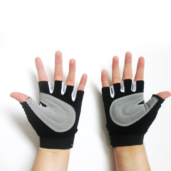 Cycling Gloves Padded Half Finger Bicycle MTB Bike Sports Strap Size M-L Black