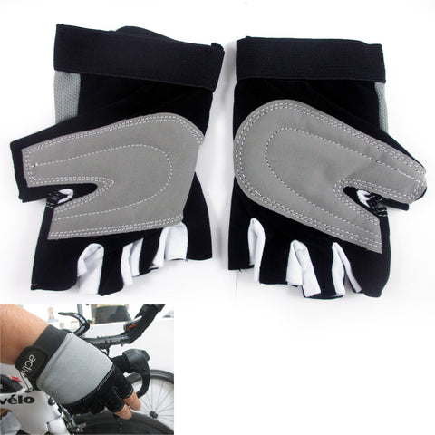 1 Cycling Gloves Padded Half Finger Cycle MTB Bike Sports Closure Strap Size S-M