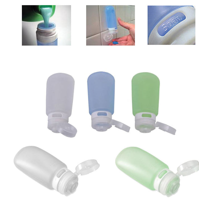 3 Travel Silicone Containers Leak Proof Squeeze Tube Bottle 2oz TSA Carry On New
