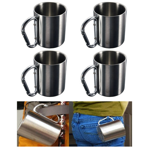 4 Pc Portable Cup 8oz Stainless Steel Camping Carabiner Mug Thermal Hook Handle