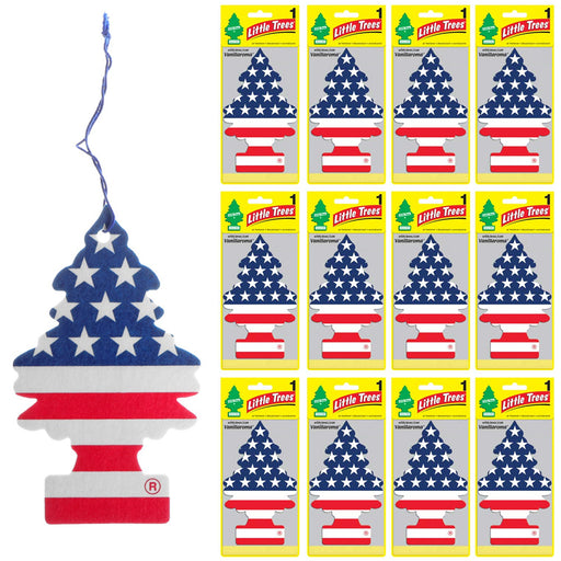 12 Little Trees Vanillaroma Scent Car Air Freshener American Flag Auto Hanging
