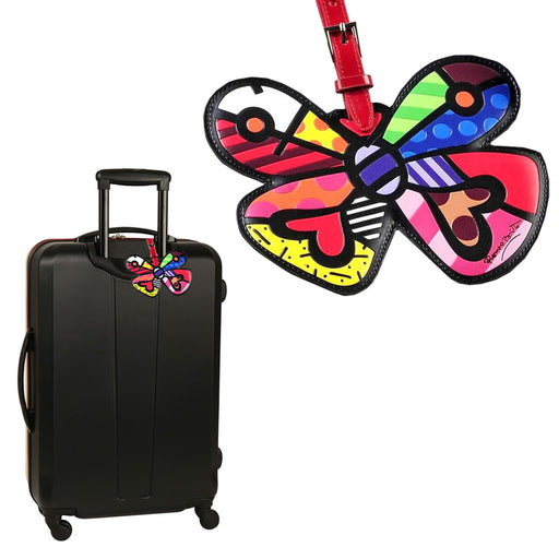 Romero Britto Luggage Tag Butterfly Heart Travel Bag ID Name Suitcase Baggage