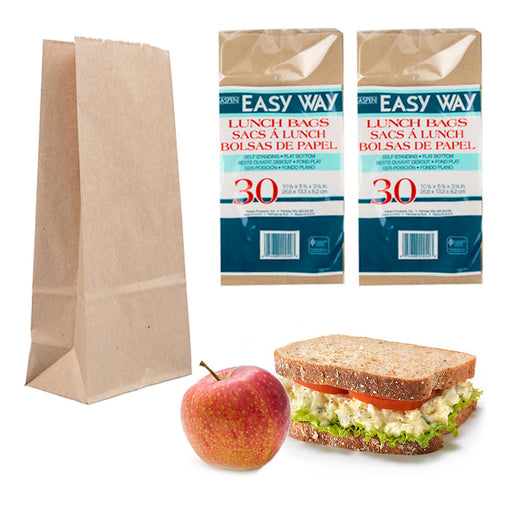 "60 Pc Brown Paper Bags Sandwich Container Snack Food Lunch Bag Grocery 10.5""L"