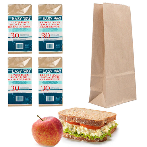 "120 Pc Brown Paper Bags Sandwich Container Snack Food Lunch Bag Grocery 10.5""L"