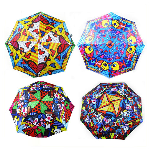 Romero Britto Umbrella Design Garden New Day Love Design Travel Folding Compact