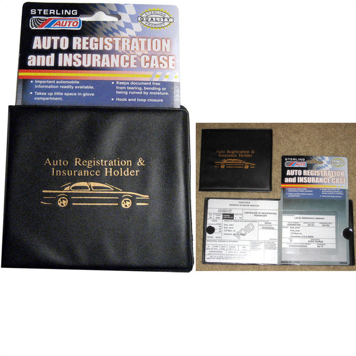 Auto Car Truck Registration Insurance Document Holder Wallet Black