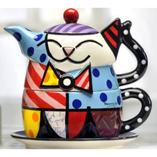 Romero Britto Ceramic Teapot Plate Cup Lid Set Cat Design Authentic Novelty Gift