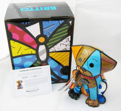 Romero Britto Boxer Dog Ceramic Sculpture Color Gift Decor Home Authentic New !!