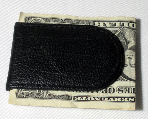MENS BLACK LEATHER MONEY CLIP MAGNETIC THIN WALLET HOLDER ID CREDIT CARD NEW !
