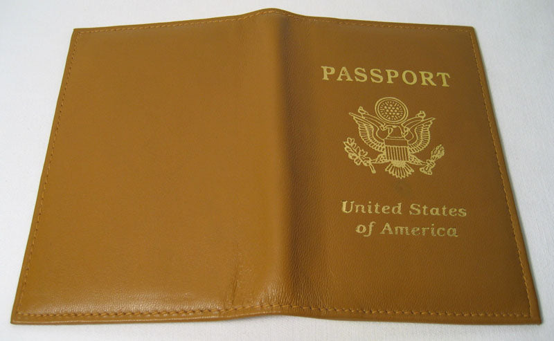 1 Tan Leather USA Passport Organizer Holder Card Case Protector Cover Wallet