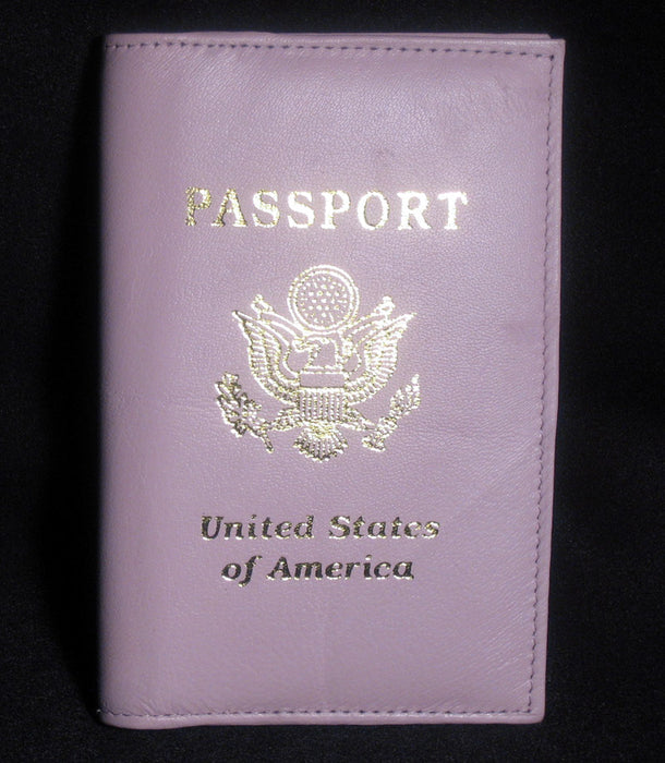 GENUINE PINK LEATHER PASSPORT COVER HOLDER WALLET CASE TRAVEL NEW US EMBLEM 1