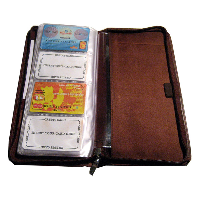 Genuine Leather Business Card Organizer Home Office 160 Holder Organizer Bdy New