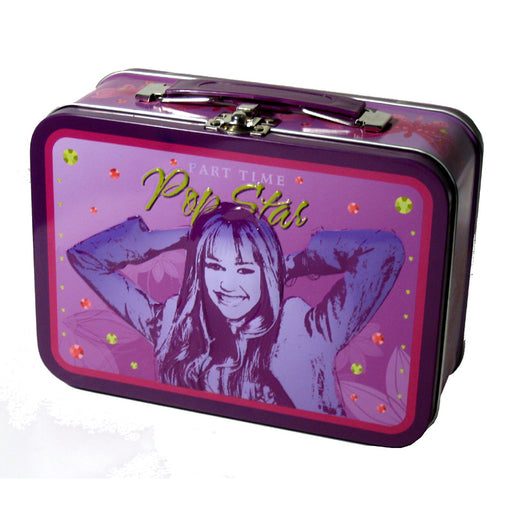2 PC Hannah Montana Metal Tin Lunchbox Snack Jewelry Pencil Case Disney Bag Box