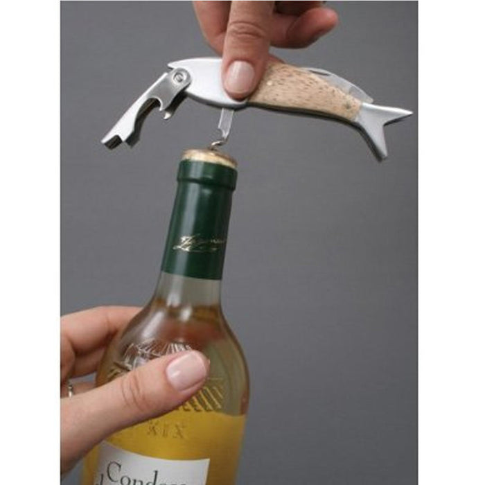 Kikkerland Corkscrew Fish Wine Opener Cork Screw Bottle Stainless Steel Waiters