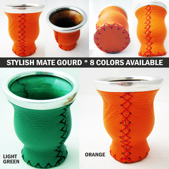 Real Leather Mate Gourd Colorful Bombilla Straw Argentina Gaucho Drink Tea 4477