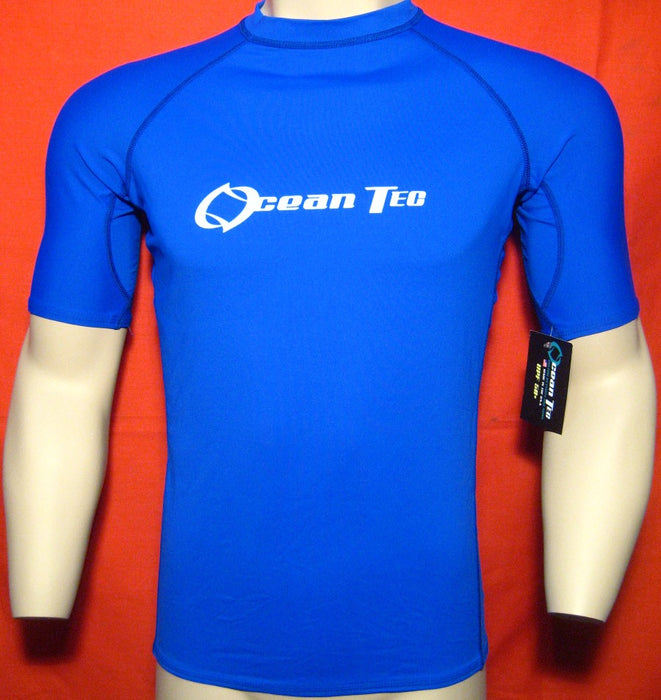 Men Rash Guard Surf Swim Shirt Water Sports SPF50+ Protection Tight Fit Blue NEW