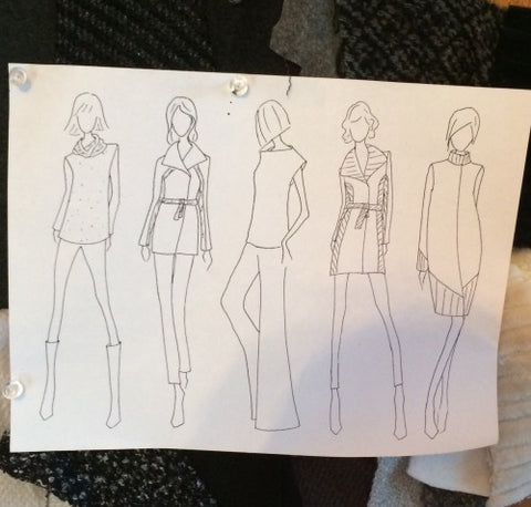 Fashion sketches for Cocoon by Elizabeth Geisler