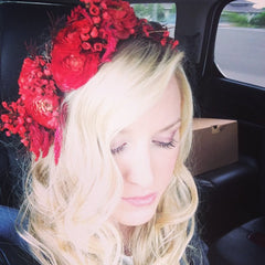 Elizabeth Geisler wears flower crown from Poppy Lane