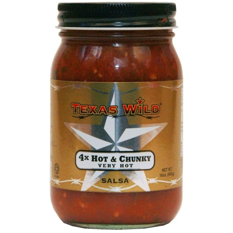 4X Hot (Hot Chunky) Salsa by Texas Wild 16oz.